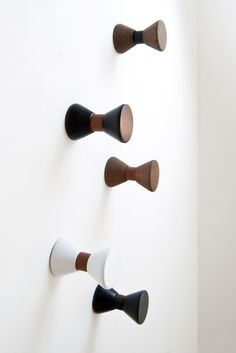 Stylish Bow Tie hook from the Danish brand, Gejst. The series of Bow Tie hooks are inspired by the iconic look of the bow tie. Made of leather and wood, the Bow Tie hooks combine exquisite materials for a simple and elegant design. Coat Stands, Neat And Tidy, Decorative Storage, Simple Designs, Bows, Interior Design, Leather, Inspiration, Hallways