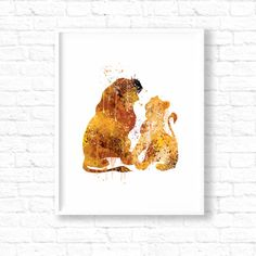 The Lion King Simba and Nala Wedding Art Disney by artRuss on Etsy