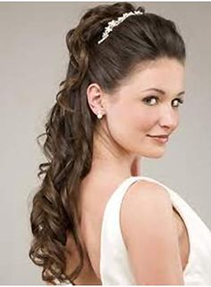 Long Formal Curly Bridal Hairstyle