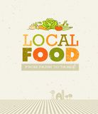 Local Food Market. From Farm To Table Creative Organic Vector Concept on Recycled Paper Background Royalty Free Stock Image