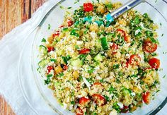 Checkout this light and delicious Whole Wheat Cous Cous Feta Salad at Laaloosh.com. Just 4 Points Plus per serving makes this a very filling side dish recipe.