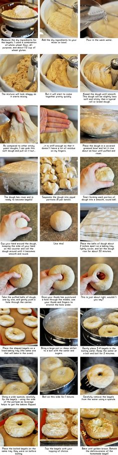 Homemade Bagels {Step-by-Step} Hmmm.I love bagels but will I be willing to make my own.Homemade Bagels {Step-by-Step} Hmmm.I love bagels but will I be willing to make my own. Comida Judaica, Recetas Salvadorenas, Bread Recipes, Cooking Recipes, Homemade Bagels, Bread And Pastries, Bagel Bread, Bread Food, I Love Food