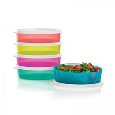 Medium Wonders Bowls:          Re-energize with a midday snack—just the right size for a delicious salad.  Set of five 1½-cup/410 mL bowls with seals. In Margarita, Coral Crush, Peacock, Laguna and Fuchsia Kiss. Not intended for microwave use. Dishwasher safe. Limited Lifetime Warranty.     Item:10126566000