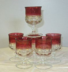 """Kings Crown Cranberry Flash Claret / small wine glasses Tiffin 4 3/8"""" thumbprint #TiffinFranciscan"""