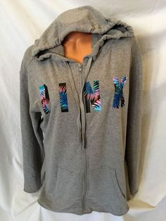 Victoria's Secret Pink Hoodie M Full Zip Side Slit Tunic Gray Tropical NEW 2017 #VictoriasSecretPINK #FullZipHoodie