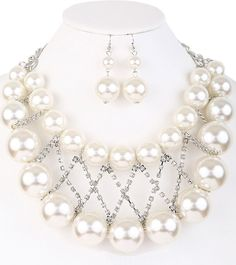 Sofia Simulated Pearl Statement Necklace and Earring Set
