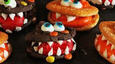 To make these creative cuties, add buttercream between two chocolate cookies and pipe on eyes and teeth. They aren't all that scary, but they are delicious.  Get the recipe at I Am Baker.