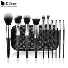 Ducare 브러쉬 10 개 전문 브랜드 메이크업 브러쉬 높은 품질 브러쉬 세트 블랙 가방 뷰티 필수 브러쉬