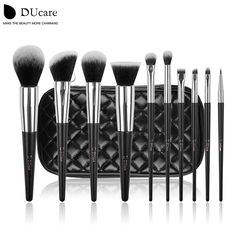 Ducareブラシメイクアップ10ピースプロフェッショナルブランド化粧ブラシ高品質ブラシセットで黒バッグ美容不可欠ブラシ