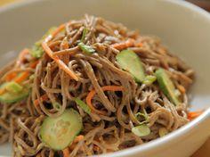 So Good Soba Noodle Salad recipe from Daphne Brogdon via Food Network - - Spicy Noodles Recipe, Crunchy Noodle Salad, Asia Food, Vegetarian Recipes, Healthy Recipes, Healthy Dinners, Free Recipes, Cooking Recipes, Pasta Salad