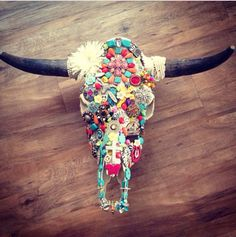 Cow skull I decorated!!