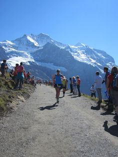 ~Jungfrau Marathon~ Most beautiful and most challenging marathon in the world. Starts in Interlaken (Switzerland) then climbs up another 1600 meters [above sea level] to finish near Kleine Scheidegg. Like being in a Ricola ad. Alpine horns and endorphins included.