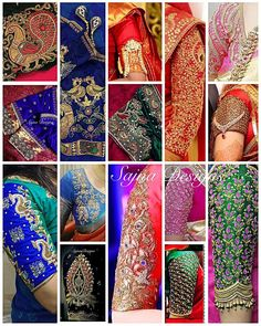 Beautiful bridal designer blouse sleeves with hand embroidery kundan thread and cut work from sajna call message at 919094871467 16 july 2017 Sari Blouse Designs, Bridal Blouse Designs, Blouse Patterns, Maggam Work Designs, Blouse Models, Sleeve Designs, Indian Designer Wear, Couture, Cut Work
