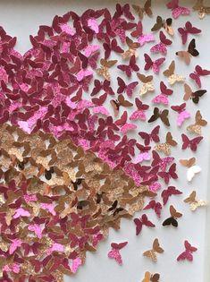 Pink Gold Butterflies heart , pink heart , gold heart , love you to the moon and back butterflies Heart 3d Paper Art, Paper Artwork, Butterfly Wall Art, Paper Butterflies, Gold Paper, Pink Paper, 3d Wall Art, Wall Art Sets, Girls Room Wall Decor
