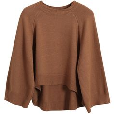 Chicnova Fashion Thanksgiving Solid Round Neck Sweater (40 AUD) ❤ liked on Polyvore featuring tops, sweaters, brown tops, round neck sweater, brown sweater and round neck top