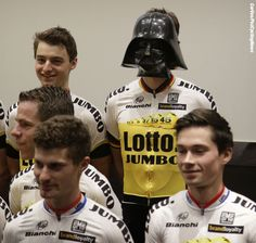 It seems that Darth Vader is a new addition to the LottoNL-Jumbo team for 2016. But no, it's Robert Wagner.