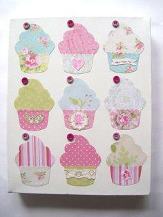 Cupcake original art mixed media collage