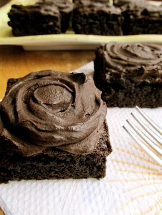 Jumbo fudge brownies with perfect chocolate frosting-These are the best brownies ever!!! Fudge y, moist, chewy, perfection :) I highly recommend these!!
