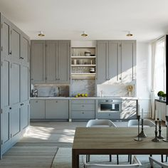 Swedish Kitchen with Gray Painted Cabinets & Marble Backsplash Steel Counter tops with marble backsplash and grey cabinets Cheap Kitchen Cabinets, Grey Cabinets, Painting Kitchen Cabinets, Shaker Cabinets, Kitchen Cabinetry, Shaker Doors, Upper Cabinets, Kitchen Units, Classic Cabinets