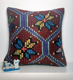 Turkish decorative kilim pillow cover colorful, handmade, vintage. Living room, bedroom, sofa. 16x16 inch (40x40 cm)