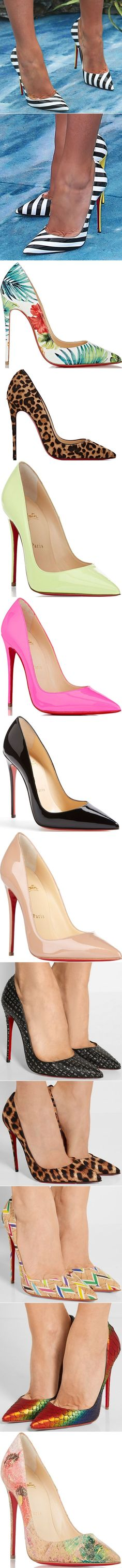 "Blake's pumps are the Christian Louboutin ""So Kate"" pumps. They are made of black and white striped patent leather material and feature pointed toes and contrasting yellow heels."