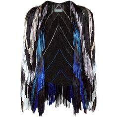 Tim Ryan Colour Fade Fringed Knit jacket (€2.020) ❤ liked on Polyvore featuring outerwear, jackets, woven jacket, colorful jackets, open front jacket, tim ryan and fringe jacket