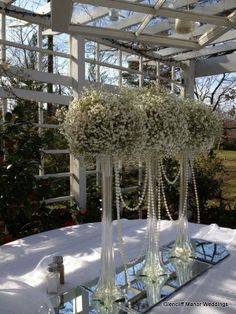 Eiffel tower vases with baby's breath and pearls #glencliffmanor #babysbreathcenterpiece