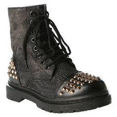 Gia-Mia Girls' Rock Star Studded Combat Boots - Black : Target