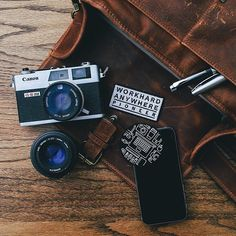 Wow! Check out Benson's Canon G-III QL17. Have you ever seen one of these? It's an old school rangefinder that Canon first manufactured in 1972 and sold more than a million of. Looks like this one is still going strong some 40 years later! // #onabags #InMyONA