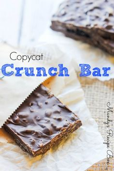 Copycat Crunch Bar.. you won't believe how easy these are to make, and they taste just like the real thing!