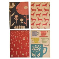 Set of 4 postcards  Wild Flowers Reindeer Herds by skinnylaminx,