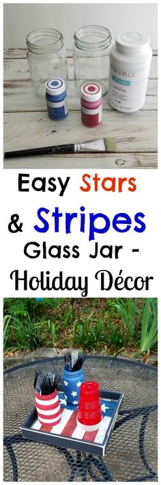 Garden Inspiration Easy Stars and Stripes Glass Jar Holiday Dcor.Garden Inspiration Easy Stars and Stripes Glass Jar Holiday Dcor Upcycled Home Decor, Quirky Home Decor, Easy Home Decor, Handmade Home Decor, Cheap Home Decor, Recycled Crafts, Patriotic Crafts, Patriotic Decorations, Flower Decorations