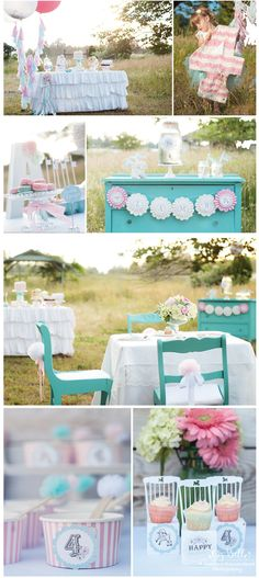 Aqua and pink birthday party ideas