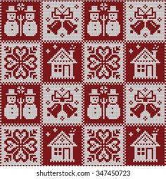 Imágenes similares, fotos y vectores de stock sobre Knitted Christmas seamless pattern; 347450714 | Shutterstock Christmas Cross Stitch Alphabet, Xmas Cross Stitch, Cross Stitching, Cross Stitch Embroidery, Cross Stitch Patterns, Pinterest Cross Stitch, Christmas Knitting Patterns, Tapestry Crochet, Knitting Charts