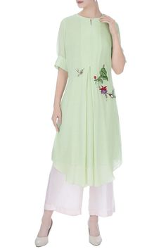 Beautiful georgette kurti with hand painted motives