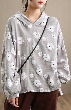 Chic Light Gray Print Clothes For Women Hooded Loose Spring Blouses Spring Blouses, Linen Blouse, Long Sleeve Tops, Hoods, Autumn Tops, Linen Tops, Gray, Clothes For Women, Chic