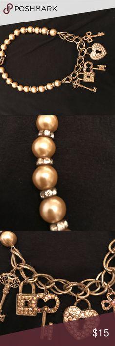 Ohh la la Nine inch choker style with rhinestone gems in five charms Boston Proper Jewelry Necklaces
