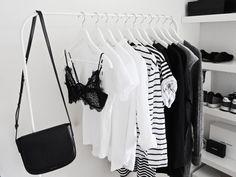 new start | by Mirjam from www.miiju.ch Mansur Gavriel saddle bag - Anine Bing lace bra - Comme des Garcons Play tee - Zara striped sweater - Acne Studios Raya cardigan - Urban Outfitters striped dress