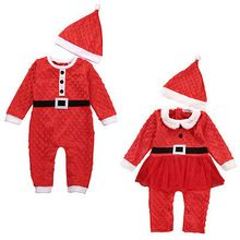 Newborn Girl Boy Christmas Santa Costume Long Sleeve Romper + Hat 2Pcs Outfit Set Baby Clothes(China (Mainland))