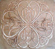 Raised Plaster Have A Heart Decorative Wall Stencil, Furniture Stencil