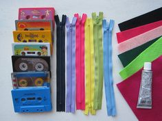 Make your own retro upcycled cassette wallets with this complete do-it-yourself kit. These make wonderful handmade gifts!    {Kit Includes} -6 various