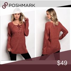 NWT Boutique Brick Lace Front Ribbed Sweater Stunning lace with grommet detail. Perfect for those chilly days paired with skinnies. No trades please. boutique Sweaters V-Necks