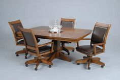 dining sets casters | Five-Piece Dining Set - Classic Wood Pedestal Table with Leaf and ...