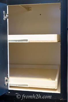 The two shelves pulled out   How To Build Blind Corner Cabinet Pull Out Shelves