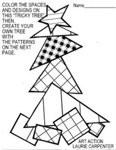 "http://www.teacherspayteachers.com/Product/Coloring-Sheets-for-Christmas-Free-Tricky-Triangle-Tree-1546069   FREE PROJECT - SO MUCH FUN!   How many funny or silly Christmas trees have you seen left in the ""for sale lot"" ? No one wanted them! They were too fat, too skinny, too empty, or too crooked. Well, guess what? They were still full of the love and the spirit of Christmas!  PROJECT OVERVIEW-PURPOSE: To provide the primary student with ""easy-art"" holiday related quiet independent seat…"