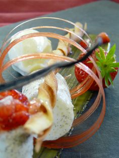 Blanc-manger with almond milk and vanilla, strawberry sorbet Strawberry Sorbet, Hotel Restaurant, Sea Bass, Cordon Bleu, Almond Milk, Vanilla, Menu, Vegetables, Breakfast