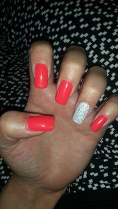 White glitter and orange