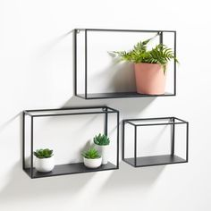 Des lignes légères et discrètes, qui donn… Set of 3 Hiba metal shelves. Light and discreet lines, which give these shelves a touch of industrial inspiration. Features of the 3 Shelves metal, Hiba: Box Shelves, Metal Shelves, Display Shelves, Wall Shelves, Floating Shelves, Shelving Units, Black Metal Shelf, Wall Storage, Diy Home Decor On A Budget