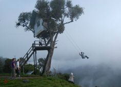 This extreme swing is located in the Baños de Agua Santa in Ecuador, on the observation deck at the foot of the volcano Tungurua. Male Enhancement, Our World, Cool Photos, Amazing Photos, Utility Pole, Health And Wellness, Creepy, Funny Pictures, Deck