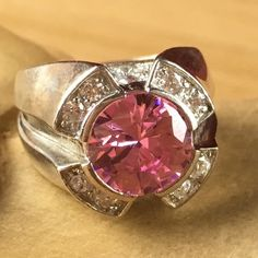 Exotic 1.15 ctw Pink Tourmaline Zircon 925 Sterling Silver Round Fashion Ring BB 1807. Starting at $1